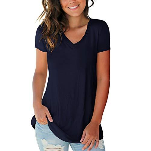 iHENGH Damen Top Bluse Bequem Lässig Mode T-Shirt Frühling Sommer Blusen Frauen Kurzarm V Ausschnitt Solide T-Shirt Lässige Lose Tops Bluse(Marine, 2XL)