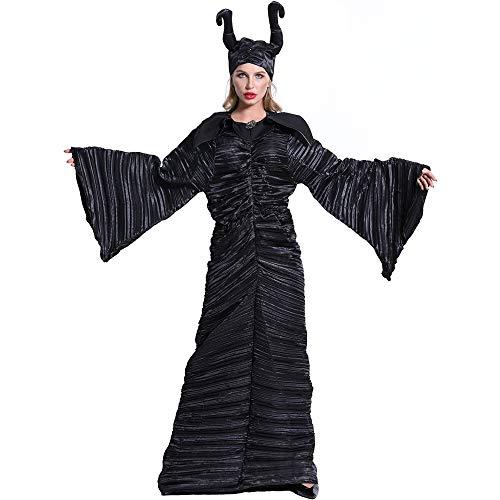 I TRUE ME Böswillige Erwachsene Frauen Halloween Cosplay Kostüm Kopfbedeckung Hut Schwarz Hexenkleid Canraval,M (Angelina Jolie Maleficent' Kostüm)