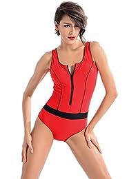 YARBAR Bañador de Mujer Athletic Zipper Front Backless Splice Traje de baño de una pieza