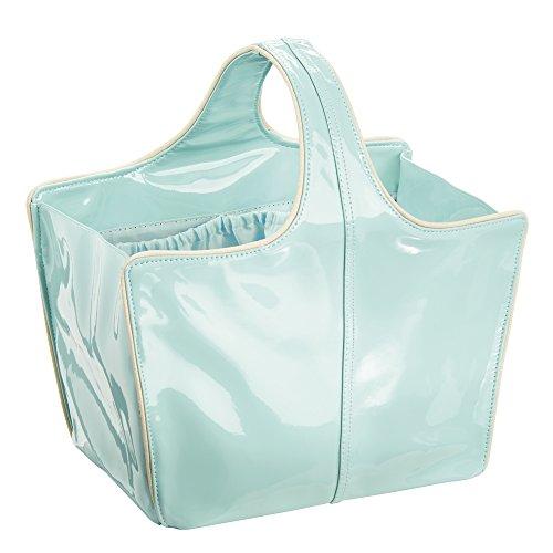 Remy InterDesign Custodia a borsa per bagno e doccia, College Dorm, spiaggia, in pelle, colore: menta/oro, taglia M, 3 pezzi