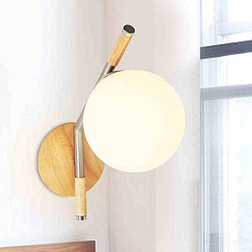 en Ball Lampenschirm Wandlampen hohe Helligkeit E27 Sockel einfache moderne chinesische Wandscheinwerfer Holzkunst mit Glas Lampenschirm Wandleuchte Runde Massivholz Wandlampen Laterne für Kinder Wohnzimmer Wohnzimmer Villa Cafe Leuchten (Runde Glas-laternen)
