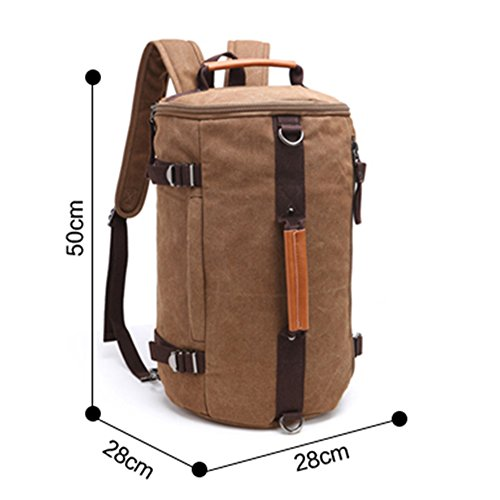 Fresion Cylinder Canvas Backpack Rucksack Outdoor Backpack Duffel Bag for Men and Women with 3 Ways of Carrying (Dark Blue) Armeegrün