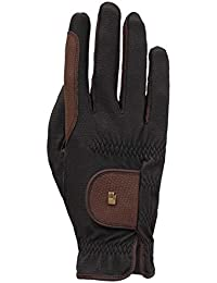riding gloves Roeck grip -bicolour-, black/mocca, 7 by Roeckl