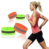 KAKOO 4er Reflektorbänder, Reflektierend Sicherheitsband Armband mit Klettverschluss Elastische Warnband für Outdoor Radfahren,Laufen,Joggen im Dunkeln