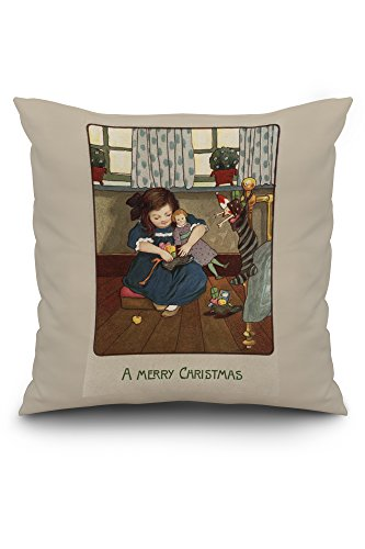 a-merry-christmas-girl-checking-her-shoes-full-of-goodies-20x20-spun-polyester-pillow-case-custom-bo