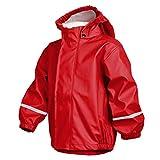 smileBaby Wasserdichte Kinder Regenjacke Regenmantel mit Abnehmbarer Kapuze Unisex in Rot 110