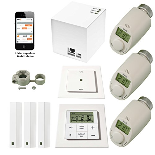 """komforthaus Mega-Starterset\""""MAX!\"""" Intelligente Heizungssteuerung über LAN, PC, SmartPhone, Tablet - komplett für 3 Räume"""