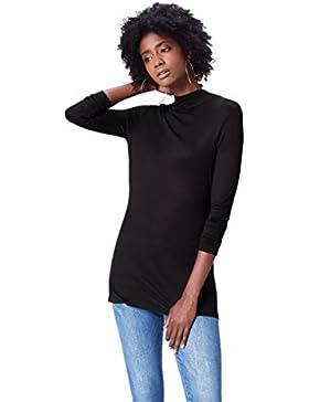 FIND Camiseta Fluida de Cuello Alto Para Mujer
