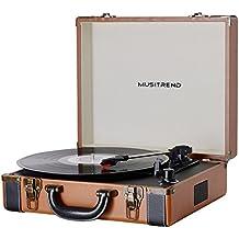 MUSITREND Tocadiscos 33/45/78 RPM Seleccionables, Maleta Portátil con 2 Altavoces Integrados, con RCA, Auriculares y Line in Montado, Marrón & Negro