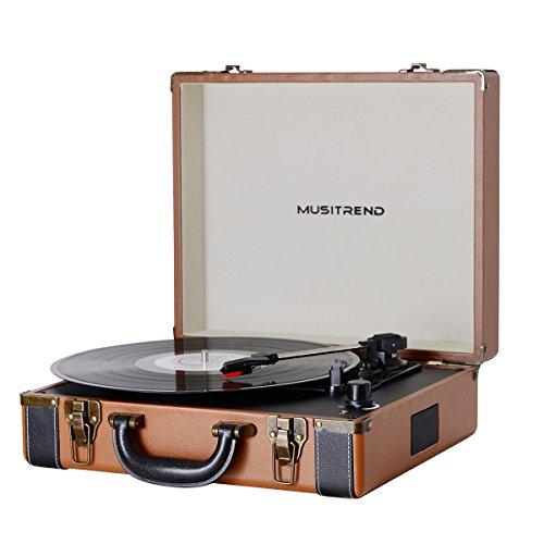 MUSITREND Platine Vinyle Tourne-Disques Valise Portable avec 2 Haut Parleurs IntéGréS, Marron & No