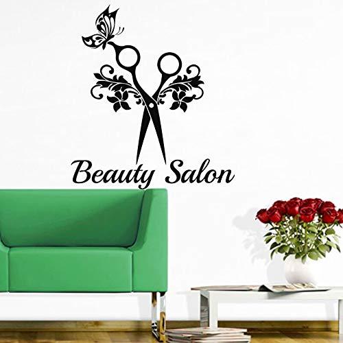 Schönheitssalon Wandtattoo Frisur Schere Kunst Wandaufkleber Beauty Studio Friseursalon Dekor Schere Mit Schmetterling Aufkleber 57x64cm -