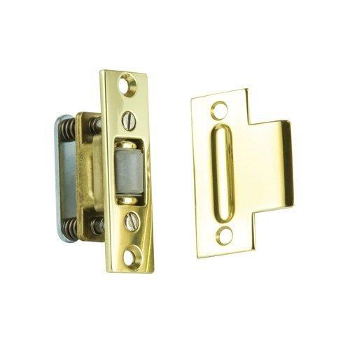 Baldwin 0432.030 Extra Heavy Duty Roller Latch with T-Strike, Polished Brass - Lacquered by Baldwin - Baldwin Brass Roller Latch