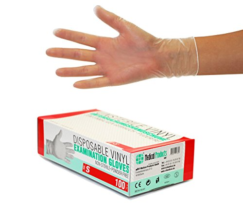 Vinylhandschuhe, Einweghandschuhe 100 Stück Box (S, Vinyl transparent) Einmalhandschuhe, Untersuchungshandschuhe, Vinyl Handschuhe, puderfrei, ohne Latex, unsteril, latexfrei, disposible gloves, Smal