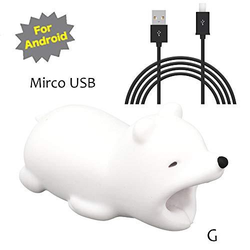 TAOtTAO Mrico USB & Type C Datenzeilenkombination Datenkabel enthalten Kabel-Schnur-Schutz-Schutz-Unterstützung, prevently kreatives nettes Tierkabel-Biss für iPhone Kabel-Schnur-Telefon-Zusatz schützt (G, Mrico USB(Schwarz))