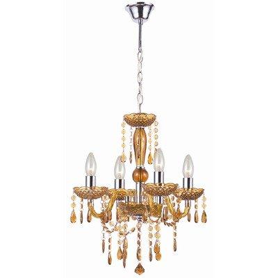 Globo Hängeleuchte Cuimbra, Lüster (Kronleuchter) Kristall amber 4x 40W E14 von FineBuy - Lampenhans.de