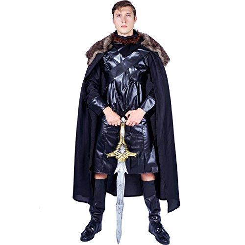 SEA HARE Mittelalterliches schwarzes Cape Herren (Warrior King Kostüm)