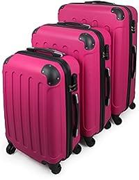 Todeco - Juego de Maletas, Equipajes de Viaje - Material: Plástico ABS - Tipo de ruedas: 4 ruedas de rotación de 360 ° - Esquinas protegidas, 51 61 71 cm, Fucsia, ABS