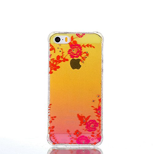 ZeWoo TPU Schutzhülle - YT10 / rote Rose - für Apple iPhone 5 5G 5S / iPhone SE (4 Zoll) Silikon Hülle Case Cover YT05