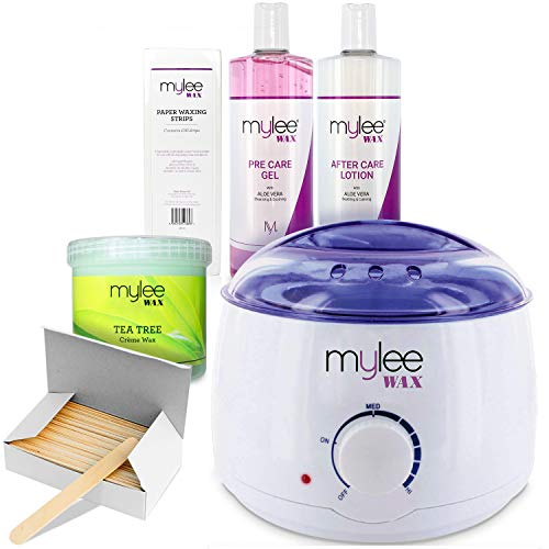 Mylee Complete Waxing Kit, Includes Salon Quality Wax Heater, Soft Cream  Wax, Waxing Strips, Spatulas and Mylee Pre & After Care Lotion (Kit + Tea