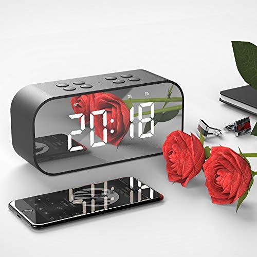 Bluetooth Wecker Lautsprecher Radiowecker Dual-Alarm LED Dimmable Display Snooze Schlummerfunktion Digital Tischuhr Für Schlafzimmer/Büro,Schwarz