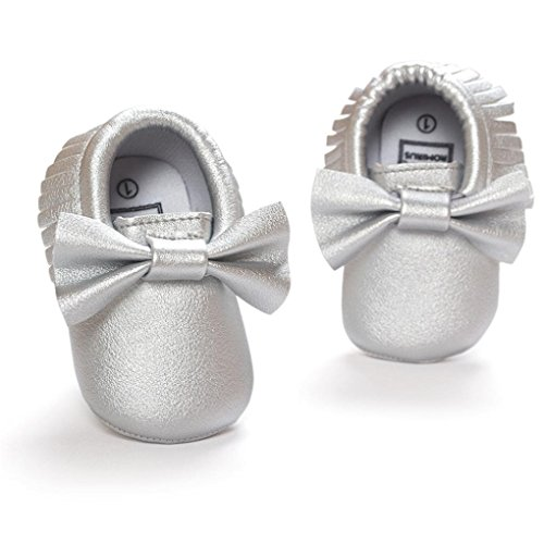 Ouneed® Krabbelschuhe , Weihnachten Baby Crib Tassels Bowknot Shoes Toddler Sneakers Casual Non slip Shoes Silber