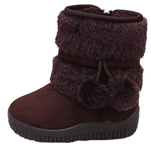 Baby Junge Mädchen Winter Schnee Stiefel mingfa Süßes Baumwolle Ball anti-rutsch Kinder Erste Walking Schuhe für 1–3Jahren Age:18-24M coffee