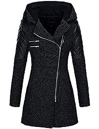FNKDOR Manteaux à Capuche Femme d hiver Chaud Veste Zippé Col Revers  Blouson Épais Slim f07394138a63