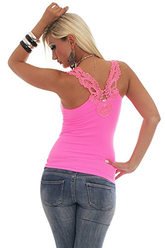 Fashion 4young Débardeur d'aspect poignets en maille dentelle Top Dentelle au crochet T-shirt Disponible en 13 couleurs 2 tailles 10077-7 Neonpink
