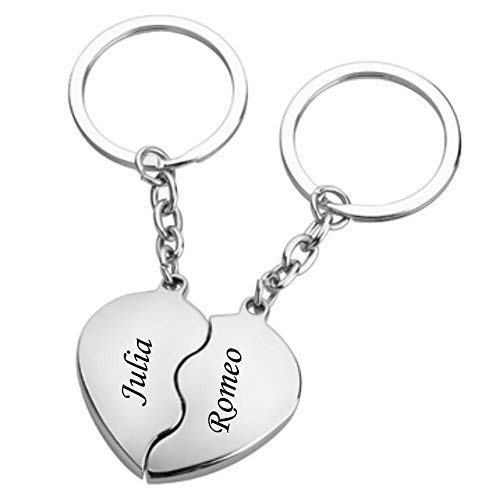 Schmalz Herz Schlüsselanhänger Metall/Partner-Schlüsselanhänger Broken Heart geteiltes Herz ICH Liebe Dich Herz Partner SCHLÜSSELANHÄNGER inkl. Gravur