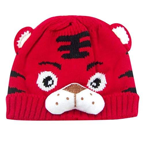 Rosennie_Baby Baby Jungen Mädchen Tiger Cartoon Warme Winter Hüte Niedlich Ohren Plüsch Strickj Hut Cap Deckel Neugeborene Gestrickte Wolle Säumen Hüte Mode Kostüm Hüte Wintermütze (Rot)