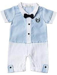 iEFiEL Monos de Bautizo Pelele Rayado Casual de Azul y Blanco para Bebé Niño