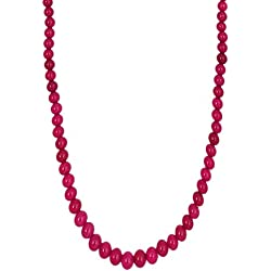 Kastiya Jewels Ruby Red Colored Quartz Semi Precious Gemstone Beads Necklace For Women