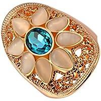 PAURO Donna Rose Opal Ring Anello Placcato Oro Nozze Con Ovale Blu Ziron