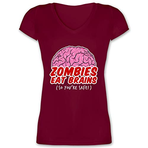 Gehirn Kostüm Riesen - Halloween - Zombies eat Brains - so You´re Safe! - S - Bordeauxrot - XO1525 - Damen T-Shirt mit V-Ausschnitt