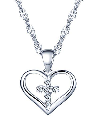 Silber Zirkonia Kreuz im Herz Anhänger Halskette Kettenanhänger für Damen Mädchen (Herz Kreuz Halskette)
