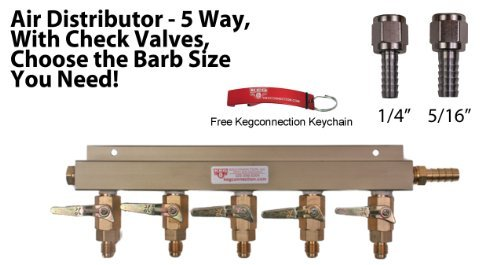 5 Way Air Manifold W/mfl Valves, Swivel Nut, 1/4 and 5/16 Barbs, Keychain. by Kegconnection