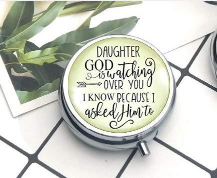 ger mit Aufschrift God is Watching Over You Love from Mom, christlicher Schmuck für Frauen, Geschenk, Pillendose ()
