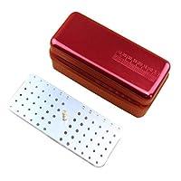 Artibetter 72 Hole Aluminium Dental Burs Holder Sterilizer Oral Care Tools (Red)