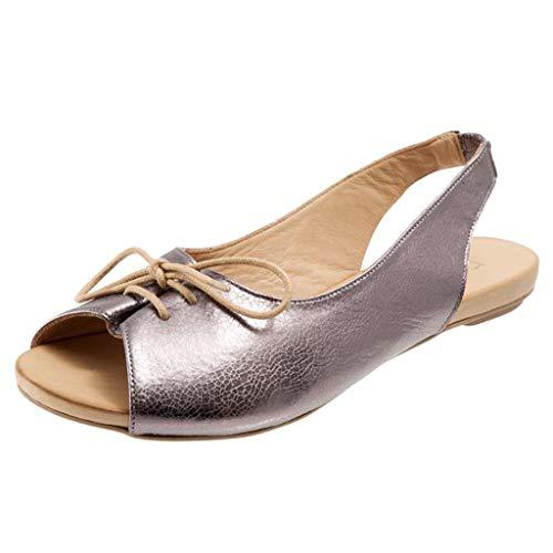 ABsoar Sandalen Damen, Sommer Lässige Römische Schuhe Segelschuhe Frauen Fisch Mund Strand Sandalen Mode Lace-Up Sandaletten Flip Flops Offene Freizeit Sandalen (Silber,37)