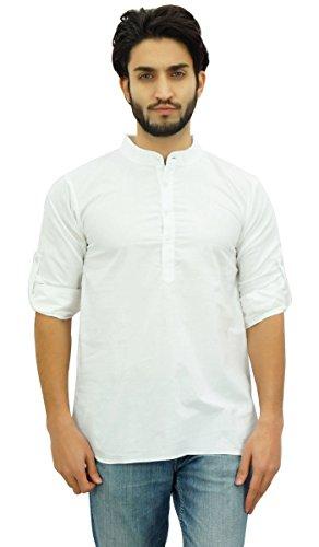 Atasi Ethnische Männer Schließen Kurta Weiß Mandarin Kragen Baumwolle Tunika-Shirt-Small (Weiß-mandarin-kragen-shirt)