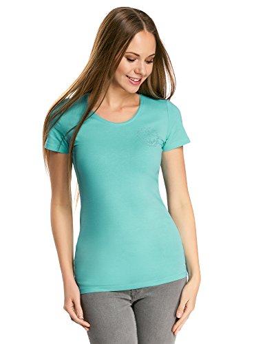 oodji Collection Damen T-Shirt mit Strasssteinenverzierung Türkis (7300N)