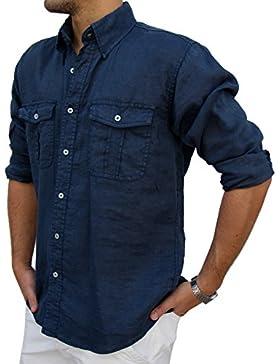 Camicia PURO LINO uomo casual doppio taschino (XXXL, Blu)