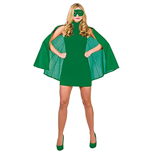 Costumes Ladies Fancy Dress - Super Hero Cape with mask - GREEN
