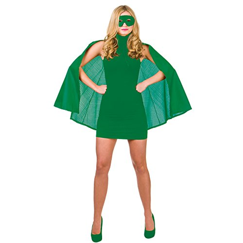 Super Hero Cape with mask - GREEN SUPERHERO LADIES FANCY DRESS COSTUME HEROINE SUPER WOMAN OUTFIT