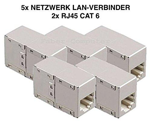5x Cat.6 Netzwerk Internet Kabel LAN Verbinder Adapter Kupplung geschirmt RJ45 BU/BU Metall Würfel