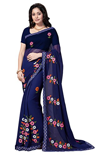 Rani Saahiba Chiffon Saree with Blouse Piece (SKR4169_Navy_One Size)