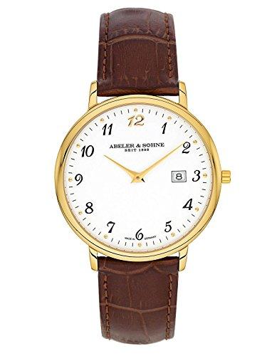 Abeler & Söhne Reloj de hombre fabricado en Alemania con cinta de piel, cristal de zafiro y fecha as1321