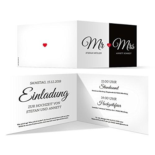 30 x Hochzeit Einladungskarten Hochzeitseinladungen Hochzeitskarten - Mr. & Mrs.
