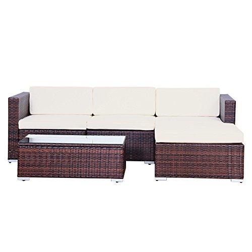 Svita Gartenset L (2 Sitze, 1 Tisch, 1 Bank) aus Rattan – variable Anordnung - 5