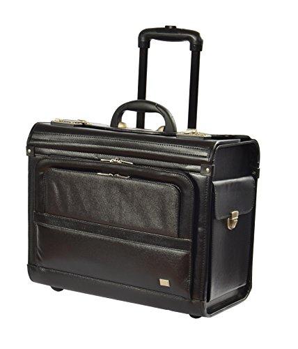 Echtes Leder Pilotenkoffer auf Räder Aufrechter Exekutive Laptop Trolley Geschäft Tasche HLG915 Schwarz (Aktenkoffer Attache Executive)